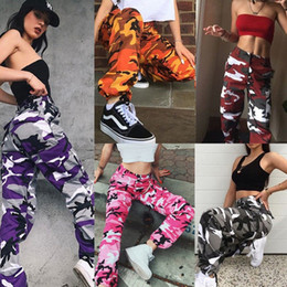 Wholesale red camo cargo pants - 2018 Fashion Womens Camo Cargo Trousers Pants Military Army Combat Camouflage Jean
