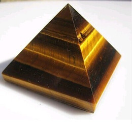 Wholesale Folk Art Ship - Free shipping a piece of natural tiger eye stone pyramid is suitable for the decoration of family decoration.