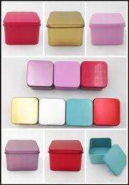 Wholesale Tea Tin Europe - 8.5*8.5*4.5cm High Quality Colorful Tea Caddy Tin Box Jewelry Storage Case Square Metal Mini Candy Box
