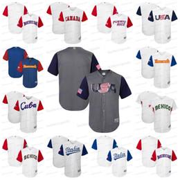 Wholesale mens canada - Custom Mens 2017 World Baseball Classic WBC USA Canada Puerto Rico Dominicana Italy Mexico Baseball Jerseys Any Name Number Stitched