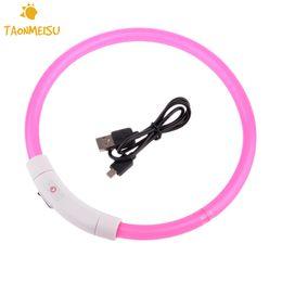 Wholesale Cat Usb Flash - LED Luminous Dog Cat Collar 35 50 70cm Cuttable Pet Collar USB Charging Optical Style Pet Flash Safety Equipment