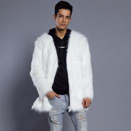 Pelz-jacke mens online-Mens Male Fur Coat Jacke Winter verdicken warme pelzigen Oberbekleidung V-Ausschnitt kragenlose haarige Parkas Oversize 6Q0317