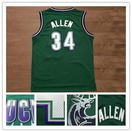 Wholesale Green Ray - Top quality Cheap Throwback Ray Allen Basketball Jersey #34 Ray Allen Retro Green Stitched Allen Basketball Jersey