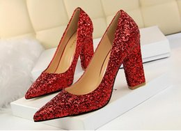 Wholesale Silver Glitter Chunky High Heels - Wholesale retail 2018 European and American style women fashion shoes high heels sequins pointed sexy nightclub women pumps Wedding shoes