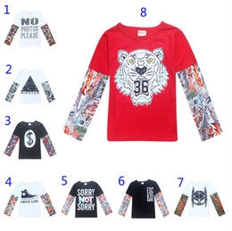 Wholesale Long Sleeves Tattoo Clothing - Fashion Baby Long Sleeve T-shirts Tattoo Letter Clothing Hip Hop Style Long Sleeve INS Toddler Patchwork Clothes
