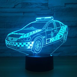 Wholesale police cards - Police Car 3D Optical Illusion Lamp Night Light DC 5V USB Powered AA Battery Wholesale Dropshipping Free Shippin