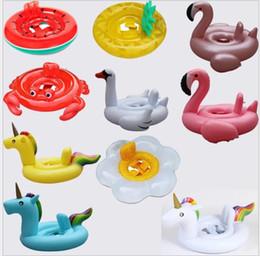Wholesale inflatable baby ring seat - Baby Swimming Ring Unicorn Seat Inflatable Unicorn Pool Float Baby Summer Water Fun Pool Toy swan flamingo Kids Swimming float KKA5082