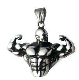 Forti collane del pendente dell'acciaio inossidabile della catena degli uomini del muscolo degli uomini di sport di forma fisica forte per la laurea maschio cheap bodybuilding pendant da pendente di bodybuilding fornitori