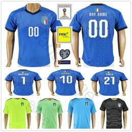 Wholesale Football Jerseys Black - 2018 Italy World Cup Jersey INSIGNE ZAZA EL SHAARAWY PIRLO MARCHISIO De Rossi Bonucci Verratti Buffon Custom Italia Soccer Football Shirt