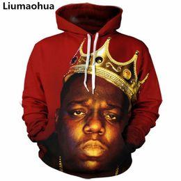 2019 pull biggie smalls Liumaohua New Hommes / Femmes Hoodies 3D rappeur biggie smalls Sweatshirt Imprimer notoriété b.i.g Hip Hop Hoodie Hip Hop Pullovers
