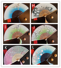 Wholesale vintage wedding hand fans - Vintage Chinese Spun Silk Flower Printing Hand Fan Folding Hollow Carved Hand Fan Event & Party Supplies