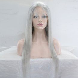Wholesale Styled Full Lace Wigs - Human Hair Straight Style Grey Lace Front Wig With Baby Hair Glueless Lace Front Human Hair Wig Full Lace Wig For Black Women
