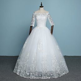 Wholesale Simple Boat Neck Organza Gown - 100% Real Photo 2017 New Arrival Engerla Half Sleeve Lace Wedding Dress Boat Neck Bride Gown Ball Gown Princess Simple Frock