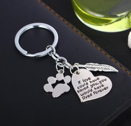 Wholesale Cartoon Handmade Keychain - 2018 New arrival dog's paw stainless steel Keychain if love could have saved Pendant Handmade best gifts 15