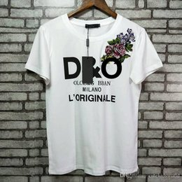Wholesale Embroidered T Shirt Woman - 2018 new arrival Luxury Europe Italy High Quality Embroidered flowers women cotton t-shirt