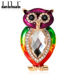 Wholesale big metal pin - Enamel Big Crystal Rhinestones Owl Branch Brooches For Women Men Banquet Metal Bird Animal Brooch Scarf Pins Jewelry