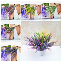 Décorations de mariage de lavande pour la maison en Ligne-5 Couleurs Lavande Artificia Décoration Fleurs Romantique Provence Faux Soie Fleurs De Mariage Accueil Favor Simulation Jardin Bouquet AAA553