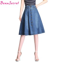 Wholesale womens plus denim skirt - High Waist Denim Skirt Women Rivet Pleated Midi Skirts Womens Plus Size Jeans Skirt