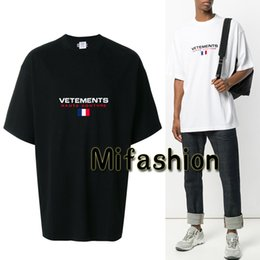Wholesale Oversized Men Shirt - Unisex 18SS Summer Fashion Vetements Oversized T shirt Embroidery France Flag Hip Hop Haute Couture Tshirt Tee Top