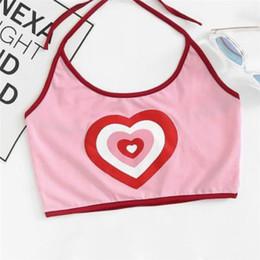 Canada 1 Pc Nouvelle Vente Femmes D'été Rose Amour Coeur Imprimer Halter Crop Top Harajuku Bralette Femelle Dos Nu Camis Casual Débardeurs S-XL cheap pink heart top Offre