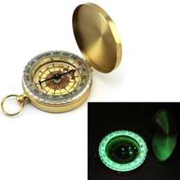 Wholesale Mountaineering Watches - Free shipping Portable Travel Hiking Outdoor Classic Brass Compass Camping Pocket Watch Style Compass Keychain Flip Noctilucence