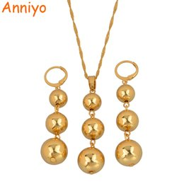 Wholesale jade ball necklace - Anniyo Bead Pendant Necklaces & Earrings sets for Women Teenage Girls Gold Color Round Ball Jewelry Party Gifts #078306
