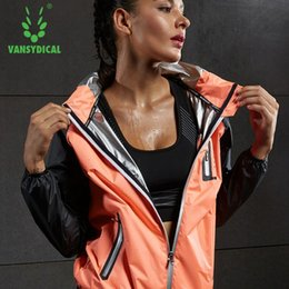 Wholesale Womens Training Top - Vansydical Hot Sweat Running Jackets Womens Sportswear Fitness Training Sports Jacket Hooded Zipper Gym Tops XXL