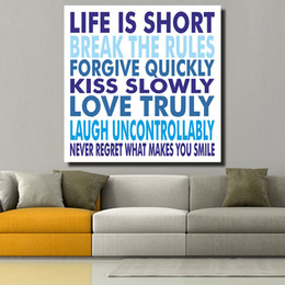 Wholesale Life Quotes Painting - Life is Short Motivational Quotes Posters and Prints Oil Painting Canvas Art Prints for Living Room Home Decor No Framed