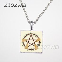 Wholesale Wicca Pentacle - Wicca Broom Pentagram square Necklace Pentacle Pendant Wiccan Witch Jewelry Glass Cabochon Silver Statement Long Chain Necklace