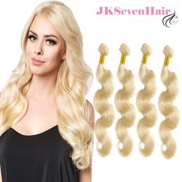 Extensiones de cabello europeo de alta calidad online-Extensión brasileña del pelo humano de la Virgen de Malasia 4 UNIDS Rubio 613 Color de la Onda Del Cuerpo Ruso Europeo Remy Paquetes de Pelo de Alta Calidad
