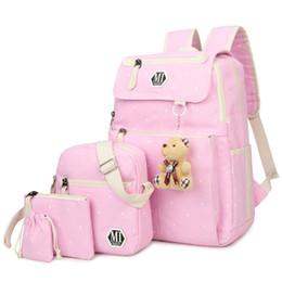 76236700d 2018 Niñas Lienzo Mochila 4 Unids / set Mujeres Escuela BackpacSchoolbag  Para Adolescentes Estudiante Libro Bolsa de Alta Calidad Niños Satchel
