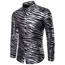 silver turns black Promo Codes - AIOPESON 2018 New Summer shirt Mens Zebra Print Slim Fit Long Sleeve Casual Mens Dress Shirt Single Breasted Men