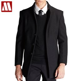 Wholesale Mens Brown Wool Winter Coat - 2017 Winter Jacket Man Fashion Warm Thicken Mens Jackets and Coats Casual Men's Outerwear Overcoat Men Woolen Trench Coat XXXL