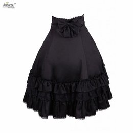 2020 saias lolita doce Ainclu XS-XXL High Quality Womens Sweet Cotton Black Ruffles Gothic With Bow Rendering Outer Wear Lolita Skirt Free Shipping saias lolita doce barato