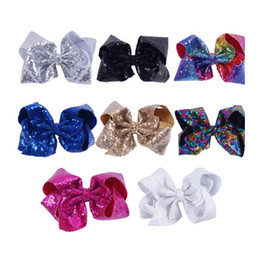 Wholesale Large Red Bows For Hair - 8 Inch Large Sequin Hair Bow With Clip For Girls Sequin Rainbow Hairbows Kids Bcak School Hair Accessories (pick color).8pcs