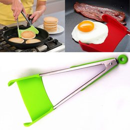 Wholesale Dhl Kitchen - 2-in-1 Clever Spatula Tong Kitchen Spatula Tongs Non-stick Heat Resistant Food Clip Grip Stainless Steel Accessories Free DHL WX9-451