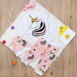 fasce di cappelli appena nati delle neonate Sconti 2018 New Baby Girls Unicorn Outfit Set Unicorno stampato manica lunga pagliaccetto + pantaloni + cappello + fascia 4 pezzi Set neonato moda abbigliamento