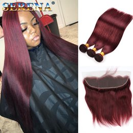 99j closure Promo Codes - #99J Wine Red 3 Bundles Peruvian Hair With Lace Frontal 13x4 Ear to Ear Silky Straight Burgundy Weaves With Full Lace Frontal Closure