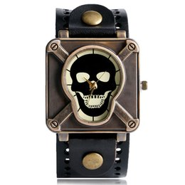 Wholesale Square Shape Watches - Fashion steampunk Skull Face Leather Strap Watch Men Modern Square Shape Special Design Quartz Analog Wristwatch Clock Gift for boy male