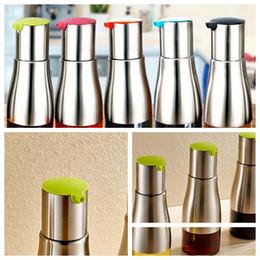 Wholesale Oil Dispenser Bottle - stainless steel oil bottle sauce pot of vinegar condiment bottle BBQ Tools Oil Sprayer Dispenser Cooking Roast Oil Bottle Tools KKA4036