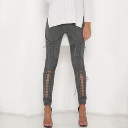 Wholesale Leather Pants Beige - 2017 New Women Sexy Bandage Legging Pants Lace-Up Women's Pants Suede Leather Pencil Lace Up Cut Out Fashion Trousers
