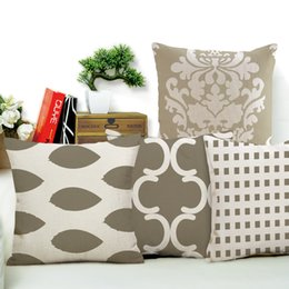 Wholesale Grey Green Bedding - Grey Geometry Series Cushion Covers Cotton Linen Lattice Flower Pillow Case for Sofa Bed Home Nordic Decorative