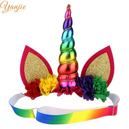 Wholesale Elastic Rainbow Headbands - Rainbow Unicorn Horn Adjustable Elastic Headband For Girls Crown Hair Accessoires Kids Chiffon Flowers Hair Bands Birthday Gift