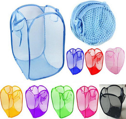 Wholesale mesh bin - Foldable Mesh Laundry Basket Organizer Storage Containers Pop Up Washing Clothes Laundry Basket Bin Hamper Storage Bag 11Colors HH7-1100