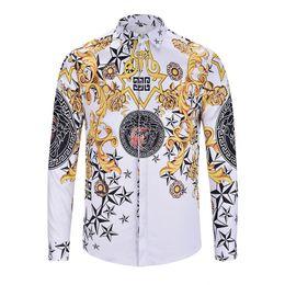 Camisa de manga larga para hombre marcas online-Nueva moda ola de hombres camisas manga larga casual Harajuku seda algodón manga larga para hombre Medusa Slim Fit camisas