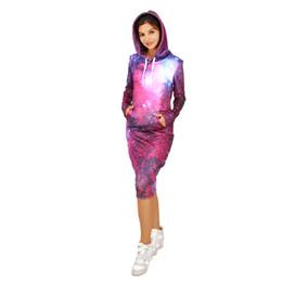 3a0da57866 Casa Nova Moda Senhora Casuais Moletom Com Capuz Vestido Mulheres Camisola  Vestido Galaxy Padrão Com Chapéu