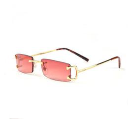 Прямоугольные бескаркасные солнцезащитные очки онлайн-Прямоугольные без оправы солнцезащитные очки Buffalo Horn унисекс без оправы Маленькие прямоугольные очки Buffalo Horn с металлическим каркасом, роскошный дизайнер с зеркальным