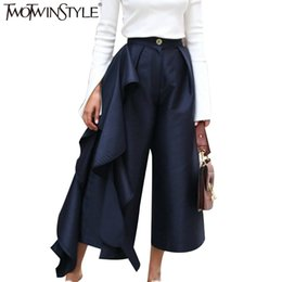 Wholesale palazzo flare pants - TWOTWINSTYLE Ruffle Trousers for Women High Waist Wide Leg Pants Female Casual Palazzo Bottoms Large Sizes Clothes Korean Autumn