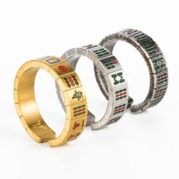 Bagues pour femmes en or noir en Ligne-Anneaux de mode Mahjong en acier inoxydable cool - Bague Mah Jong de créateur unique à la mode pour hommes