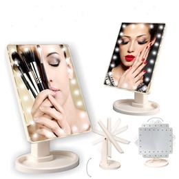 Aumentar la luz de la lámpara online-Ajustable grande 22 LED iluminado espejo de maquillaje pantalla táctil portátil de aumento tocador de la lámpara de mesa espejo cosmético 360 dhl giratorio libre
